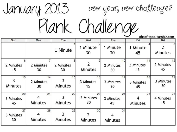 January 2013 Plank Challenge. Challenge Accepted! #fit