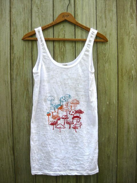 foraging for Mushrooms Tank Top in White SMLXL by nicandthenewfie, $26.00