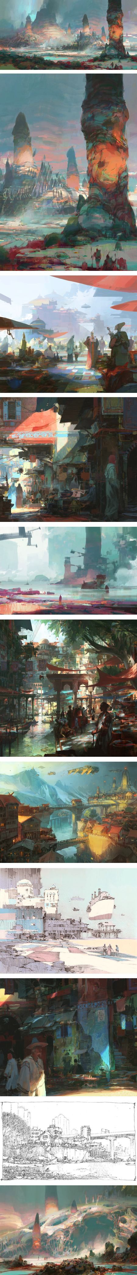 Concept art by Theo Prins. Ah all those lovely pastels!