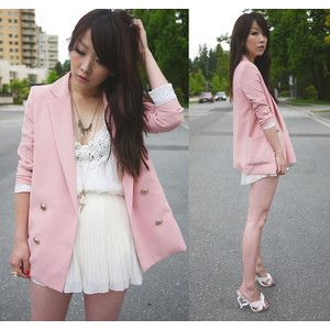 Light pink blazer, white lace dress and white high heels.