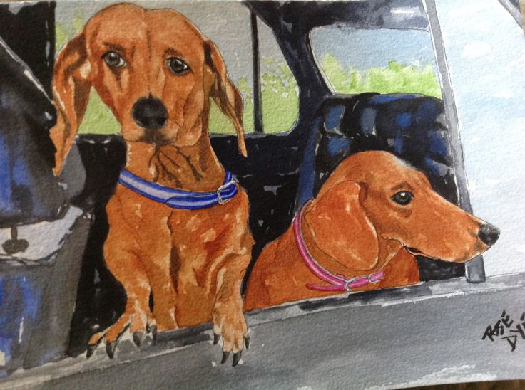 """Dashounds Dogs - """"Max and Minnie"""" Watercolour"""