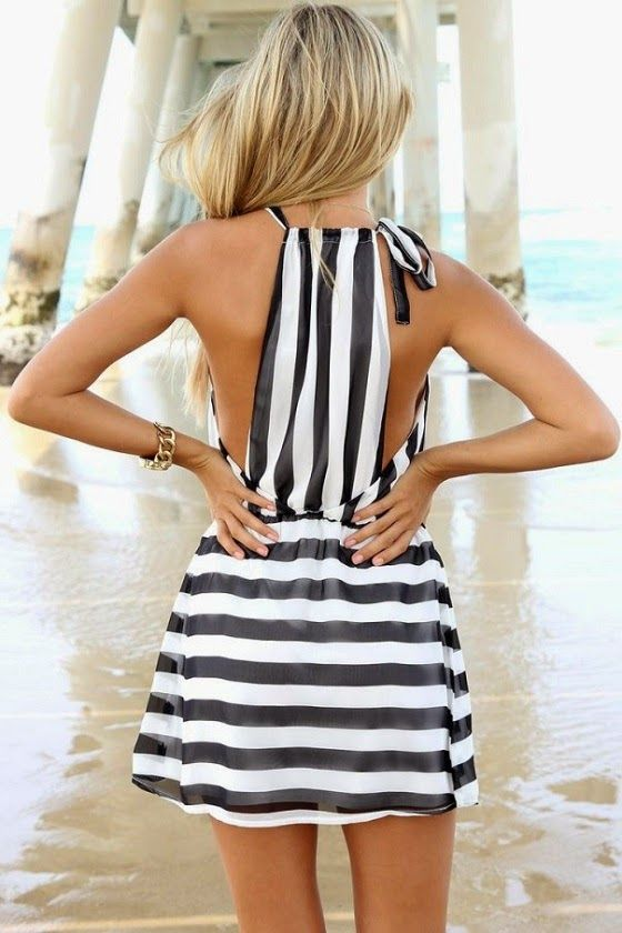 Black & White Stripes Summer Dress. #stripes