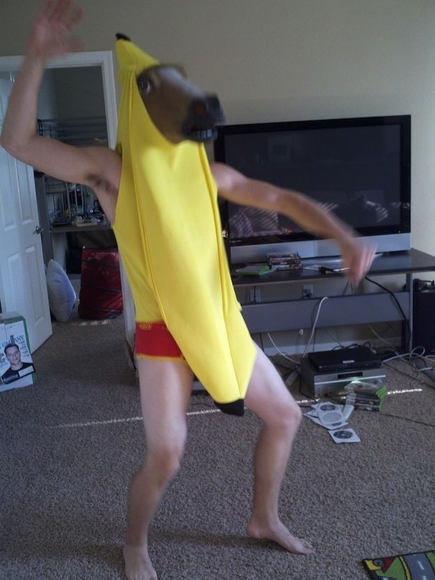 Wear a banana costume | 27 Things You Can Do While Wearing A Horse Mask