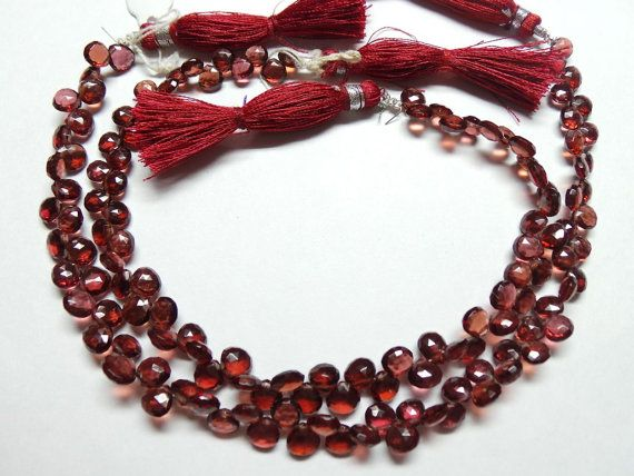 Natural Mozambique Garnet Faceted Heart Shape by StarGemBeads