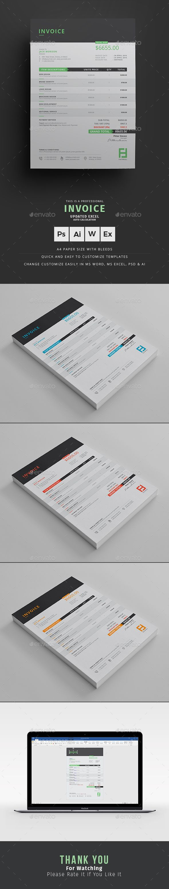 Invoice by themedevisers Corporate Invoice Excel Template. Use this Invoice for personal, corporate or company billing purpose. This Simple Invoice will h