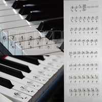 88Keys Set Piano Beginner Decal Transparent Keyboard Keys Details Stickers Music Staff 2in1 Specif