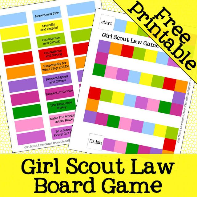 Good Idea... make it harser by drawing scenerios and the girls have to shout out what part of the law that is...Girl Scout Law Board Game FREE Printable from DianaRambles.com @Diana Avery Avery Avery Rambles #gslaw