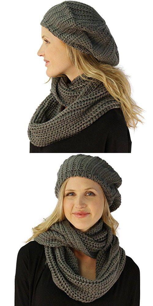 421b76aec3005b Ladies 2pc Winter Knit Beret Tam Beaniel Hat Long Infinity Scarf Solid Set  Gray
