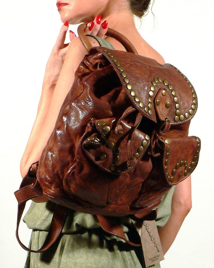 New LANGELLOTTI Distressed Vintage Brown Leather Studded ...
