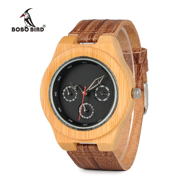 BOBO BIRD WH28 Brand Designer Bamboo Wood Watch Men Soft Cork Leather Band Watches Wristwatch Auto Date Calendar #Affiliate