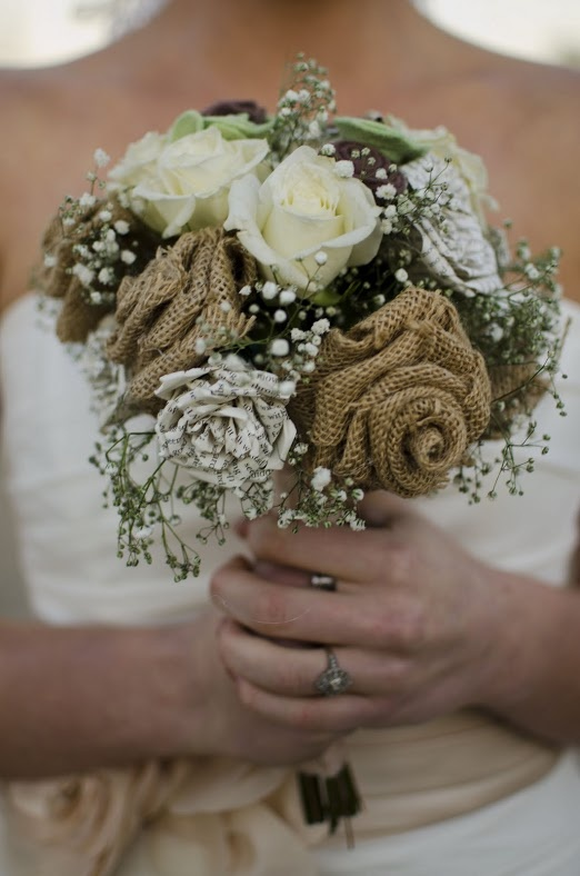 Brides bouquet: burlap flowers, story book flowers, felt flowers, baby's breath, white roses