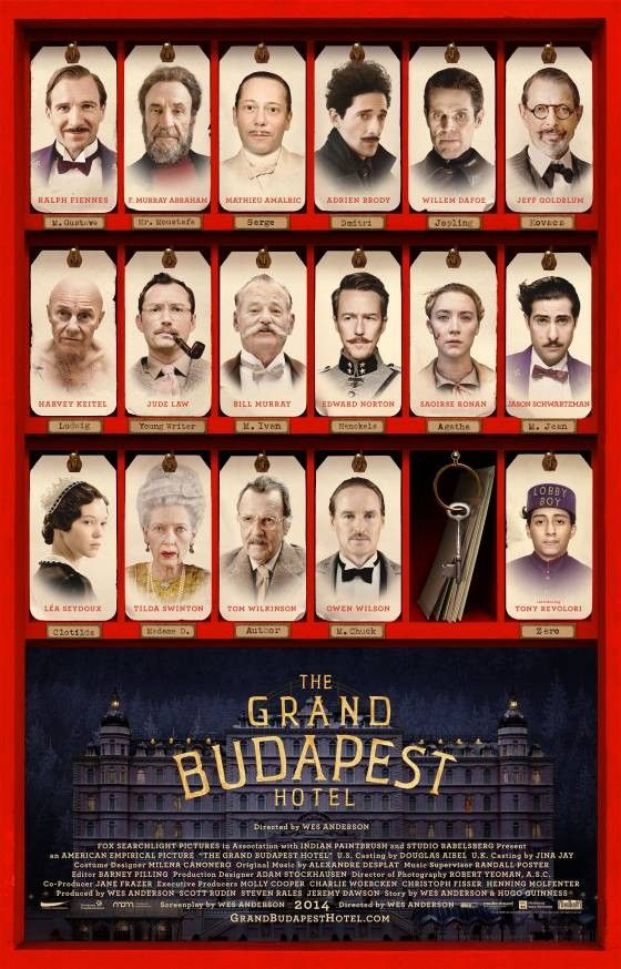 """9 nominations including BEST PICTURE, DIRECTOR, SCREENPLAY - """"The Grand Budapest Hotel"""" #Oscars2015"""
