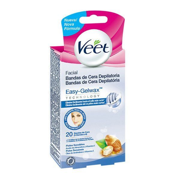 Veet Facial Hair Removing Wax Strips For Sensitive Skin Pack Of