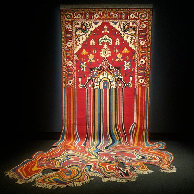 In awe of Faig Ahmed's hand woven carpet art, 'Liquid', being displayed at Mona, Tasmania.   #faigahmed #handwoven #liquid #mona #monamuseum #museum #museumofoldandnewart #art #hobart #tasmania #carpet #rugart #rug #rugs #gallery #artwork #design #handknotted  #handmade #oldandnew #museums #galleries #tasmaniandesign #craft