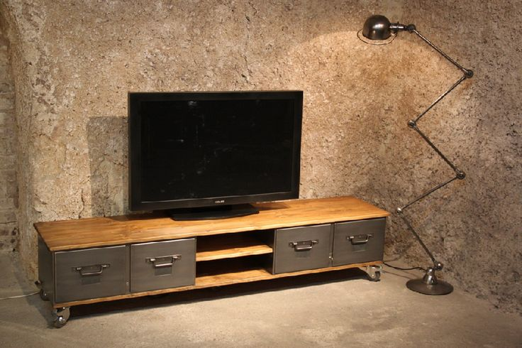 meuble tv industriel bois metal 878 585 pixels. Black Bedroom Furniture Sets. Home Design Ideas