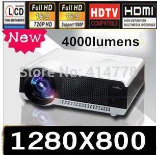 Full HD 200 Вт из светодиодов лампы 4000 lumens Proyector Native1280 * 800 видео домашний кинотеатр портативный из светодиодов проекторы с 2 tft-hdmi USB тв