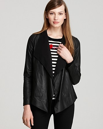 DKNY Long Sleeve Leather Drape Front Jacket | Bloomingdale's
