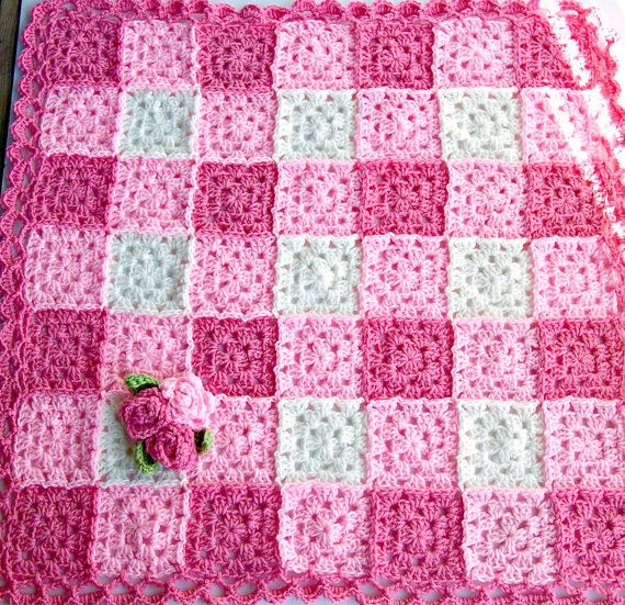 Pink Crochet Rose Blanket Granny Square Baby Blanket By