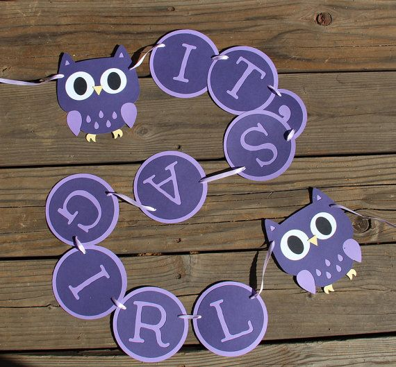 Owl Baby Shower Banner in Purple-- Custom Colors available-- by SimpleSensations, $22.00