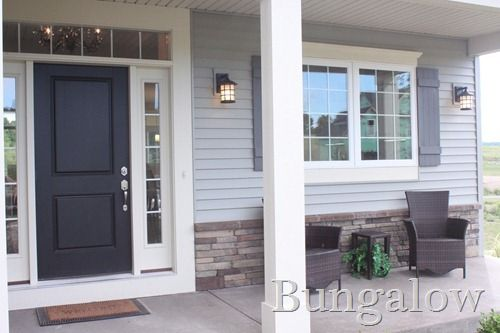images of houses with grey siding and white trim, dark grey siding  ... board and batten shutters, gray siding, black door and stacked stone