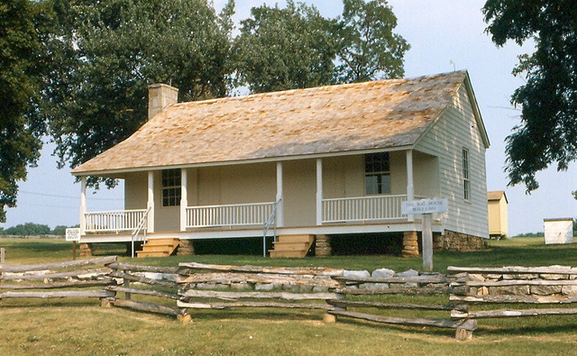 Wilsons Creek National Battlefield near Republic in Greene County, Missouri, preserves the battleground of the largest engagement west of the Mississippi River during the American Civil War. This is the Ray House, which figured prominently in the battle.