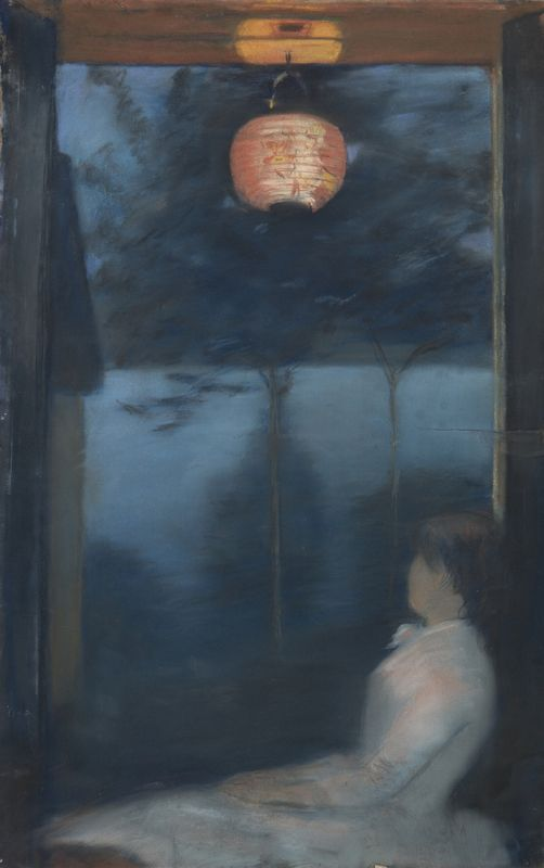 Oda Krohg, Am Kristianiafjord (Japanische Laterne), 1886, Privatbesitz, Foto Blomqvist Kunsthandel AS