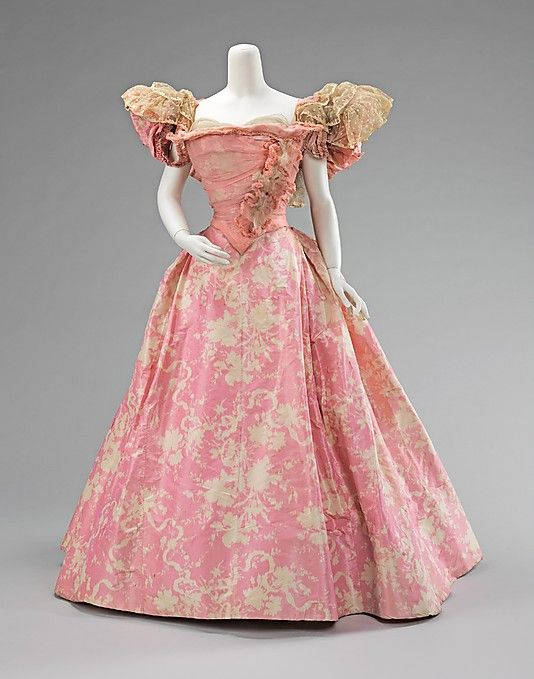 Printed pink silk taffeta ball gown with silk chiffon and lace overlay and trim, by Mme. Jeanne Paquin, French, 1895.