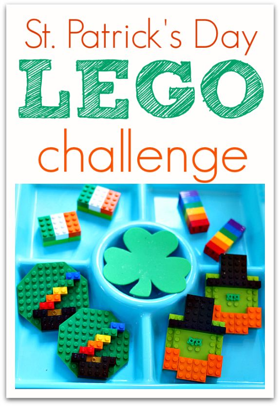 St.Patrick's Day Lego Challenge for kids.