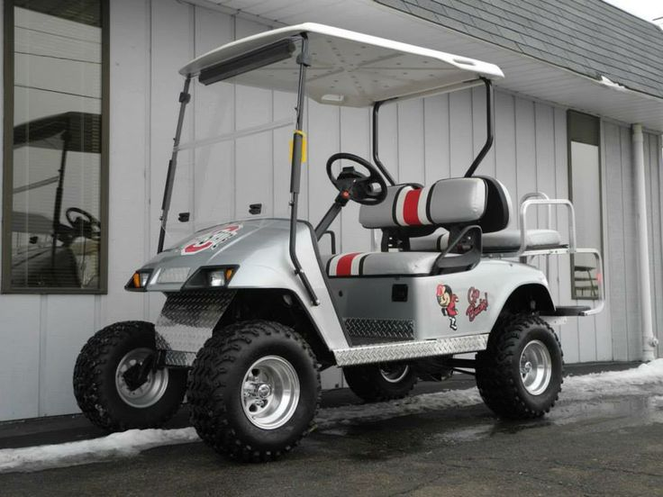 This very cool 2001 E-Z-GO electric PDS street-ready custom golf car features gray metallic paint, and officially-licensed graphics to create a color scheme that fans of Ohio State University will love! This cart has new batteries and for $5290. See more at: http://www.powerequipmentsolutions.com/products-a-services/online-store/used-golf-carts/e-z-go-golf-carts/e-z-go-electric-golf-carts/2001-e-z-go-pds-street-ready-osu-buckeyes-custom-golf-car.html  #OSU #Buckeyes #OhioStateUniversity