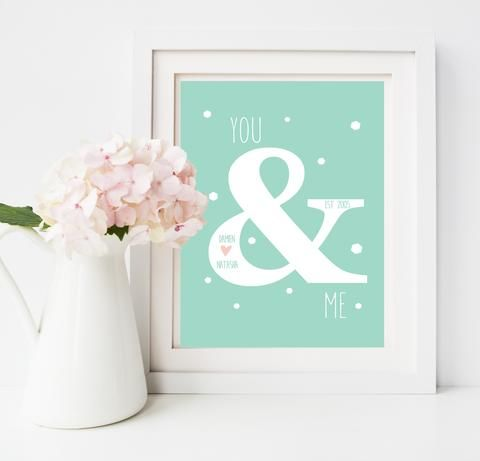 Personalised couple print for an anniversary, wedding, birthday gift.  Especially great for a first paper anniversary. $25 from lovepaperink #anniverarygift #paperweddinganniversaryideas #weddinggift #personalisedanniversarygift