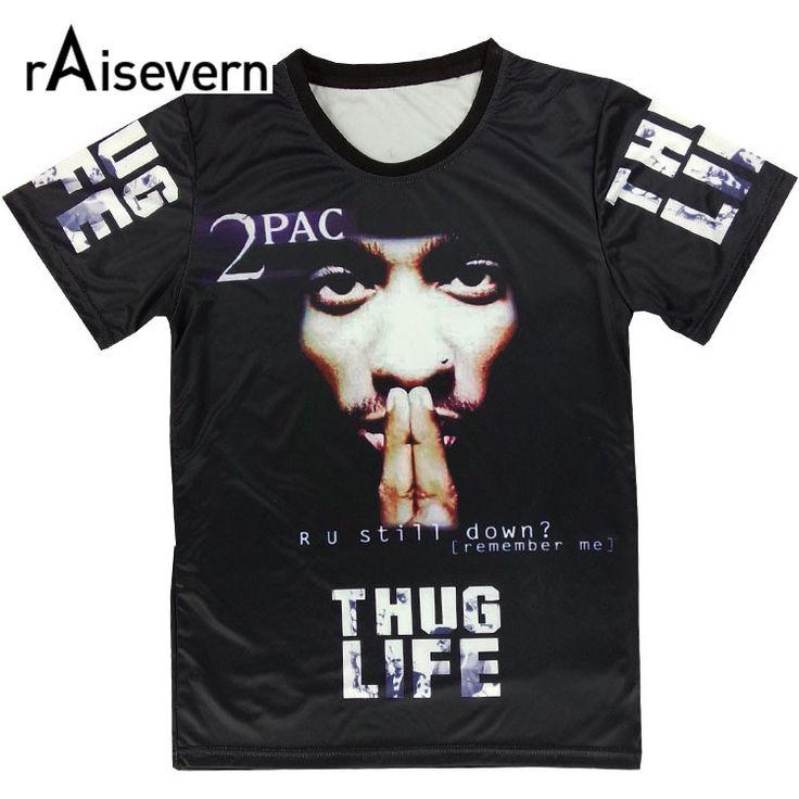 Raisevern Harajuku Summer 3D T Shirt Print Tupac 2pac Thuglife t-shirt men/women's Tee Hiphop Punk Short Sleeve Tshirt Plus Size