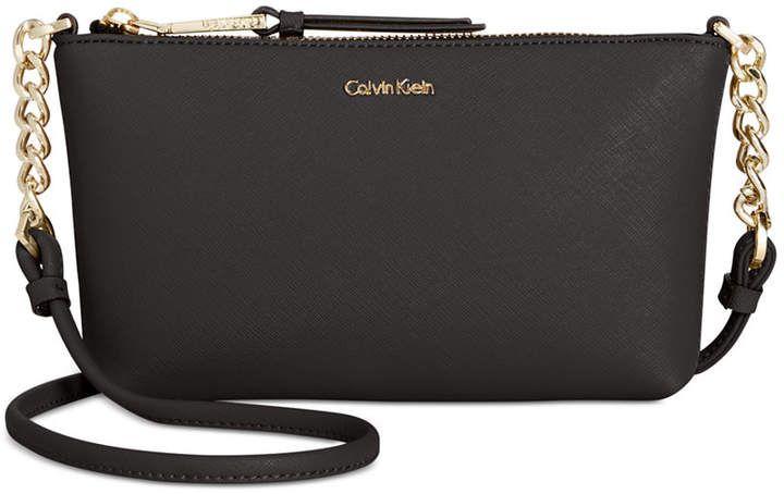 Calvin Klein Hayden Saffiano Leather Chain Crossbody Reviews Handbags Accessories Macy S Leather Leather Chain Handbag Accessories