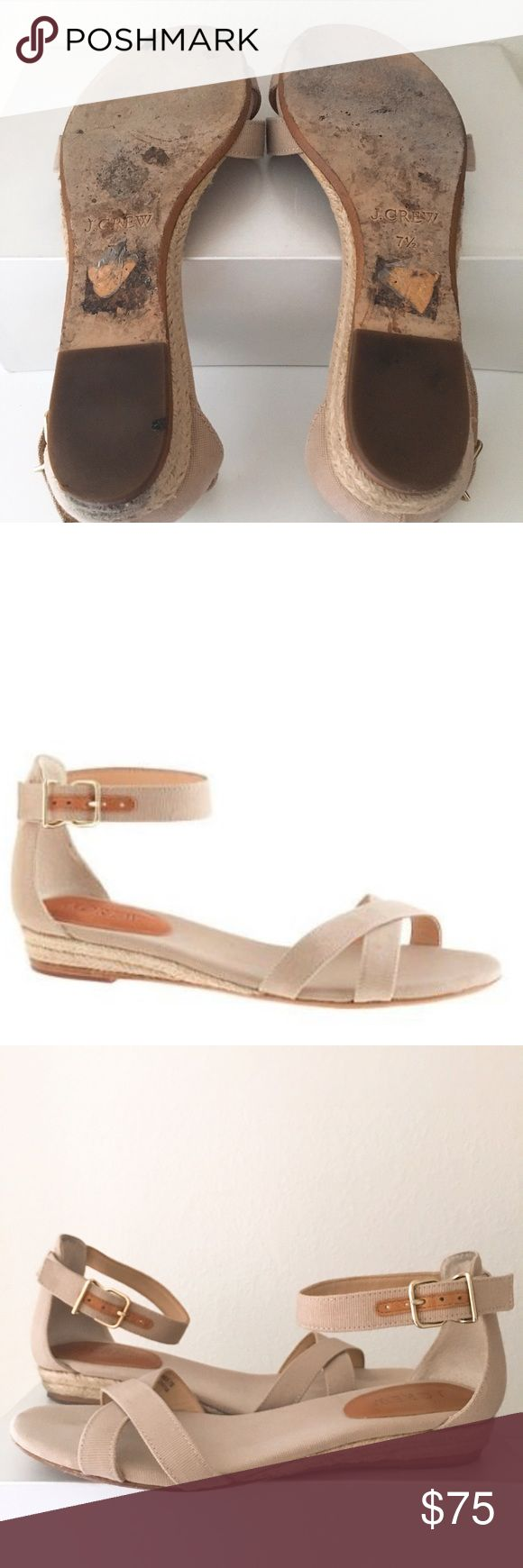 """J. Crew Marina Mini-wedge Espadrilles Nothing says summer like a sweet, strappy espadrille. These Marina mini-wedges have a nautical feel for that on-the-boardwalk look but also fit right in in an urban streetscape. Finished with an ankle strap and a low wedge heel, they're the go-anywhere shoe you'll wear daily. Cotton canvas upper. Leather lining and sole. Cotton canvas footbed. 7/8"""" heel. In EUC but the right heel is slightly dirtier due to driving. J. Crew Shoes Espadrilles"""