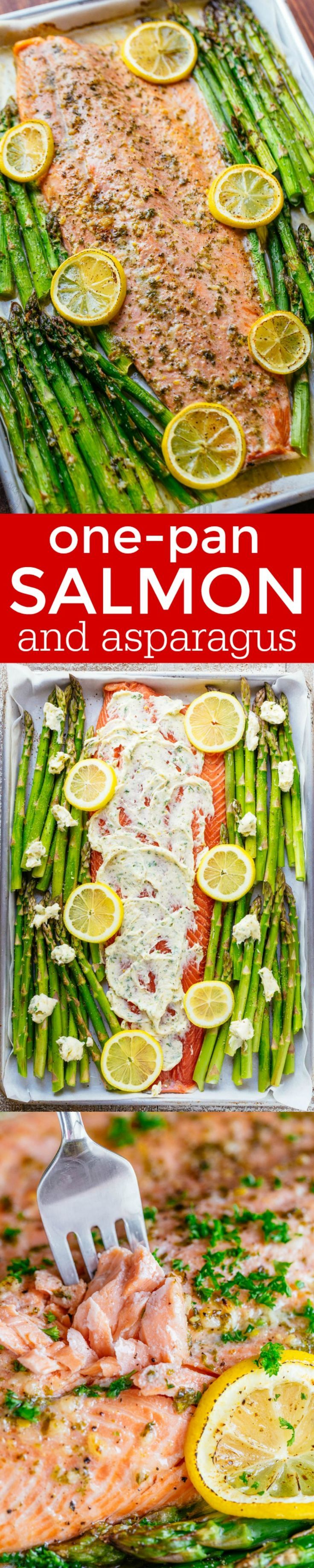 One Pan Salmon and Asparagus with Garlic Herb Butter is quick and easy (25 minute meal). The garlic-herb butter gives this salmon and asparagus rich flavor - sponsored by Salmon Council | http://natashaskitchen.com