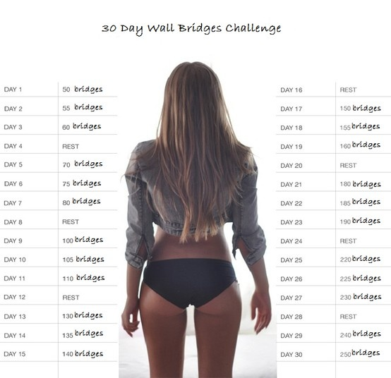 Wall bridge challenge following the squat challenge format.