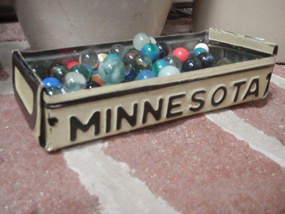 Repurposed Minnesota License Plate Tray  Rustic Storage by lahaine