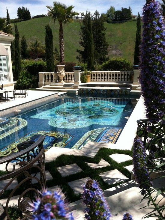 Hand Painted Itailan tile pool in California