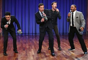 TV THEME SONGS!!! Jimmy Fallon and Guys with Kids Cast Perform Classic TV Theme Song Mash-Up