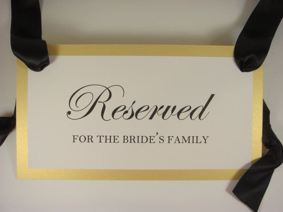 Reserved Seating Wedding Ceremony Pew Signs For The By Wedology