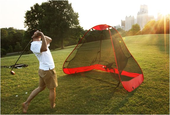 The Rukk Net is a portable pop-up golf net that allows you to practice anytime, any place.