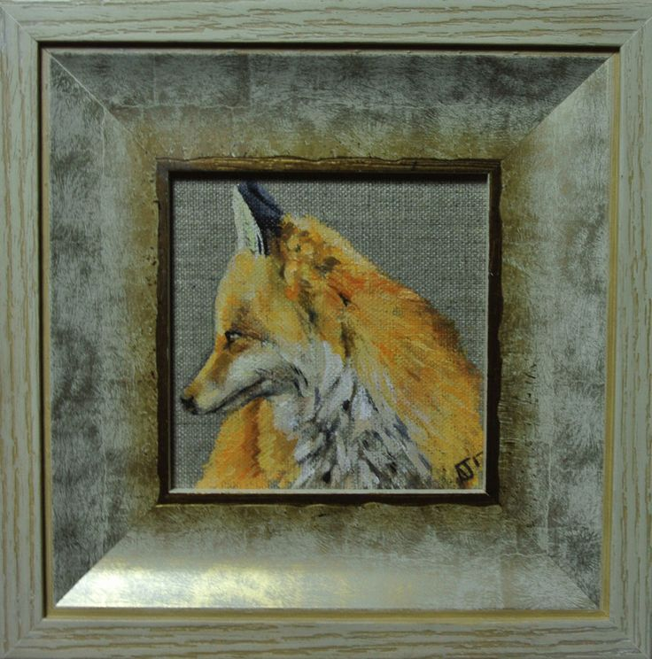 Fox Miniature painting Framed, Foxes Wall Decor Art Ready to Hang Original by AJ #Impressionist