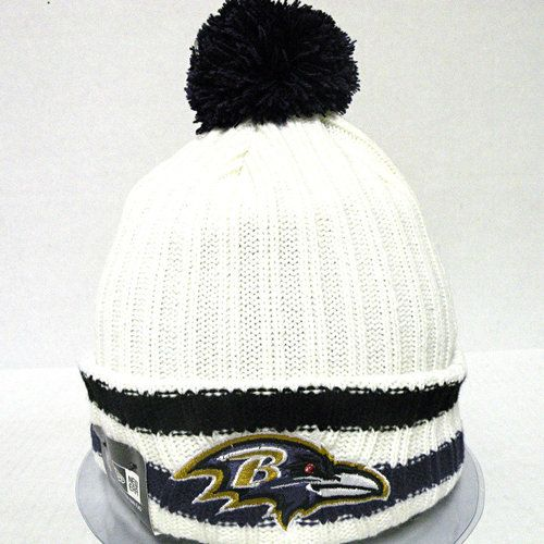 New Era Cap NFL Baltimore Ravens Yester-Year Knit Cuffed Beanie Cap with Pom NewEra