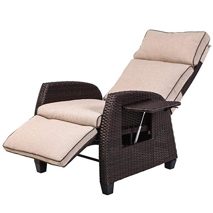 Lch Adjustable Recliner Relaxing Sofa Chair Outdoor Wicker Furniture Aluminum Frame Lounge With Lounge Chair Outdoor Outdoor Wicker Furniture Outdoor Recliner