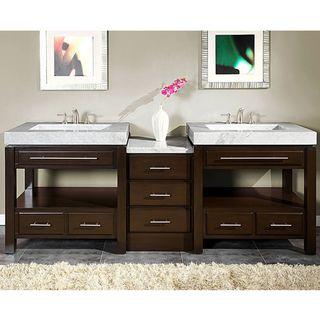 Silkroad Exclusive 92-inch Carrara White Marble Stone Countertop Bathroom Vanity | Overstock.com Shopping - The Best Deals on Bathroom Vanit...