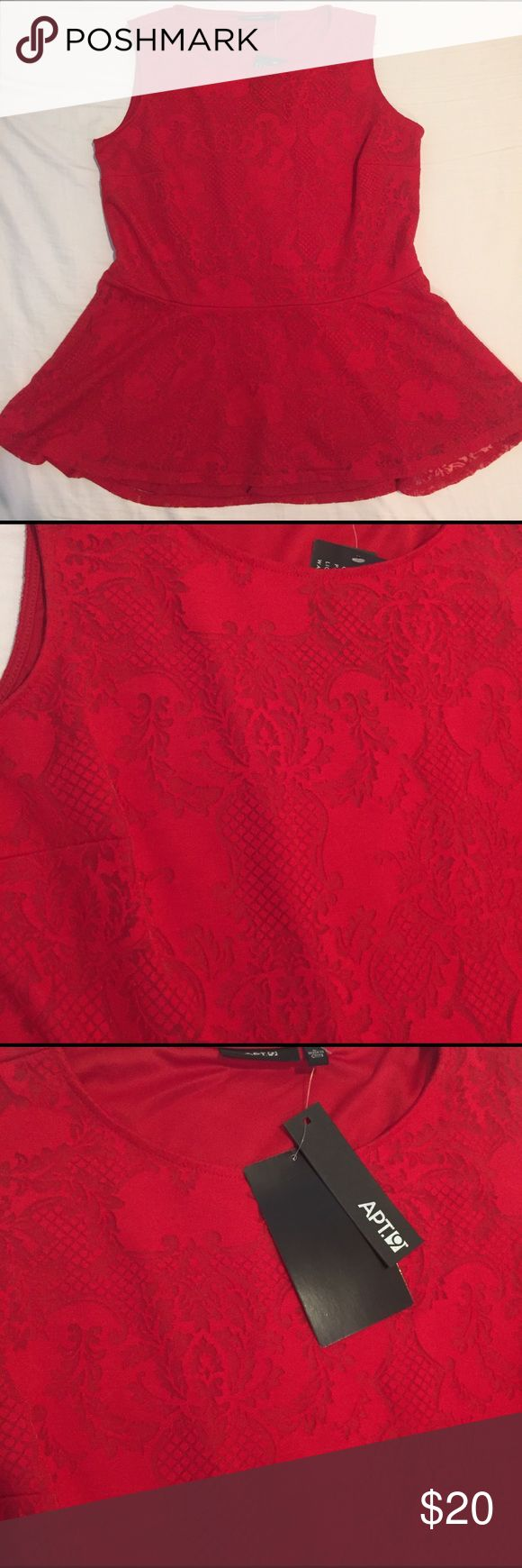 Peplum top Bright red peplum. Never worn. Elegant lace-like pattern. Size large. 62% rayon, 33% polyester, 5% spandex Apt. 9 Tops Blouses