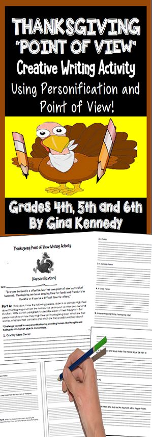 Students are provided the opportunity to use first person narrative, personification and inference skills to figure out how simple objects, people or animals might look at Thanksgiving in a different way; for example how would a pig feel when everyone is paying attention to the turkeys or a college football player when he has to be gone for the holidays. Then students will reflect how their own family members feel in a poetry project. $