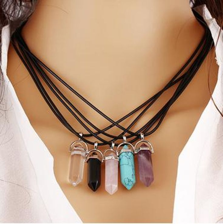 8SEASONS Created Fashion Multi Color Quartz Chakra Necklaces Pendant Necklace Chain Crystal Necklace Women Jewelry Accessories ** Click the image to visit the website
