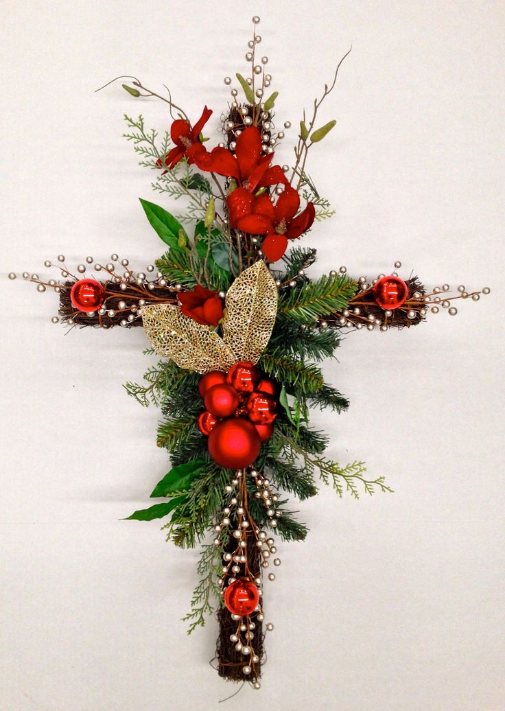 """Twig Memorial Red Floral Cross"" Christmas Holiday 2013 Season, Faux floral arrangement by http://nfmdesign.synthasite.com/"