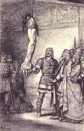 this is the scene when beowulf defeated Grendal for the first time and hung his arm to show that he had defeated Grendal.