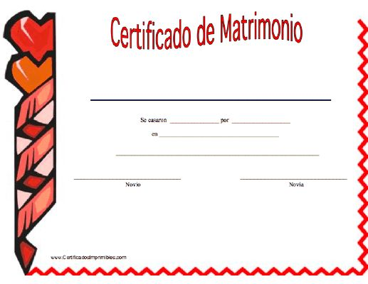 Certificado de Matrimonio para imprimir los certificados, gratis para descargar e imprimir